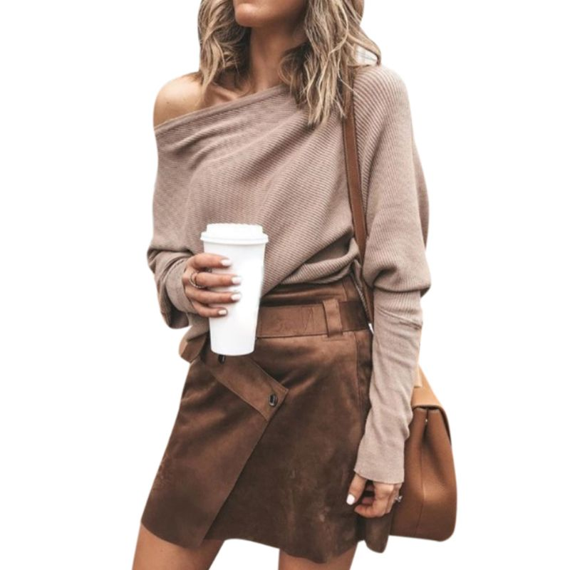 Women Autumn Spring Off Shoulder Sweater Long Batwing Sleeves Solid Color Knitted Pullover Tops Loose Casual Knitwear Jumper New 4