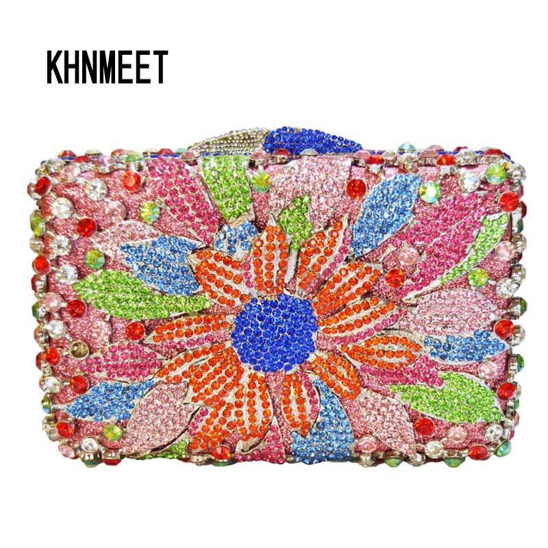 LaiSC Flower Bag Women Luxury Diamond Evening Bag Ladies Purse Pochette Crystal Day Clutches Bling Party Bag Chain HandBag SC264 yuanyu 2018 new hot free shipping real python leather women clutch women hand caught bag women bag long snake women day clutches