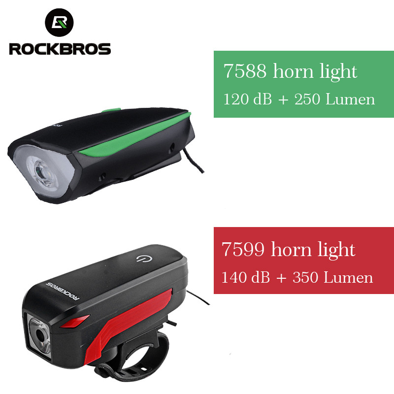ROCKBROS 2 In 1 Camping Bicycle Light Bell <font><b>Horn</b></font> Waterproof 350 Lumem Electric USB Light Rechargeable MTB Hiking Bike Lights Ring