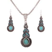 Shellhard Boho Jewelry Sets Fashion Long Drop Pendant Necklace Earrings Vintage Tibetan Jewellery Female Bijoux For Women
