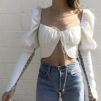 Liva Vinage Palace Blouse Women White Puff Sleeve Autumn Women Blouses Square Collar Bandage womens tops and blouses