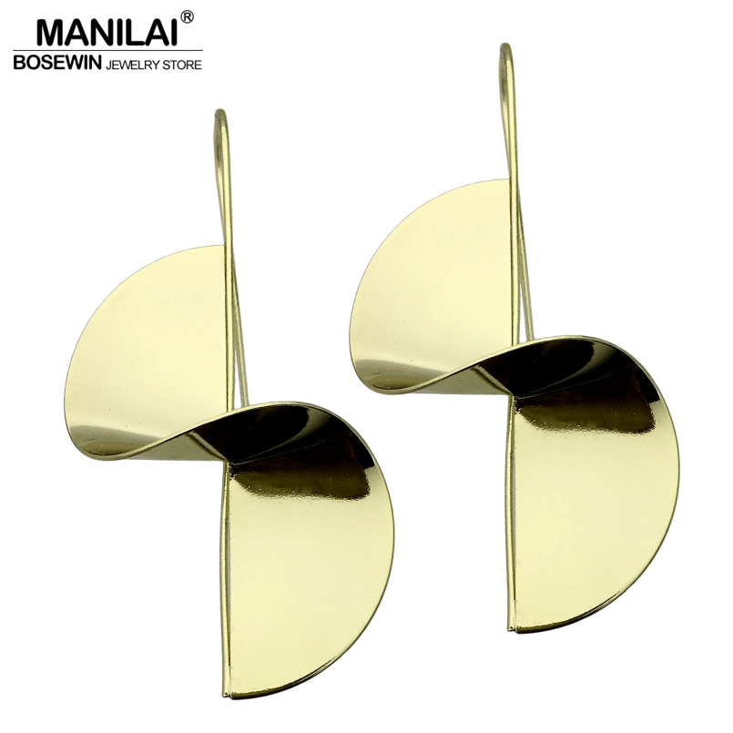 MANILAI Simple Design Warp Bright Alloy Stud Earrings Fashion Jewelry Vintage Windmill Punk Earrings For Women Brincos 2018