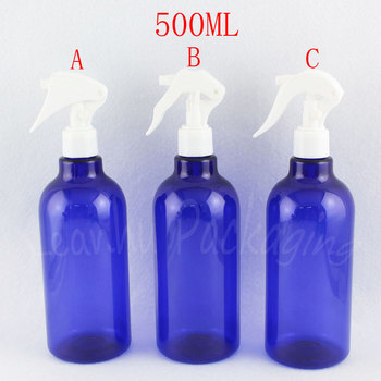 500ML Blue Plastic Bottle With Trigger Spray Pump , 500CC Toner / Water Sub-bottling , Empty Cosmetic Container ( 12 PC/Lot )