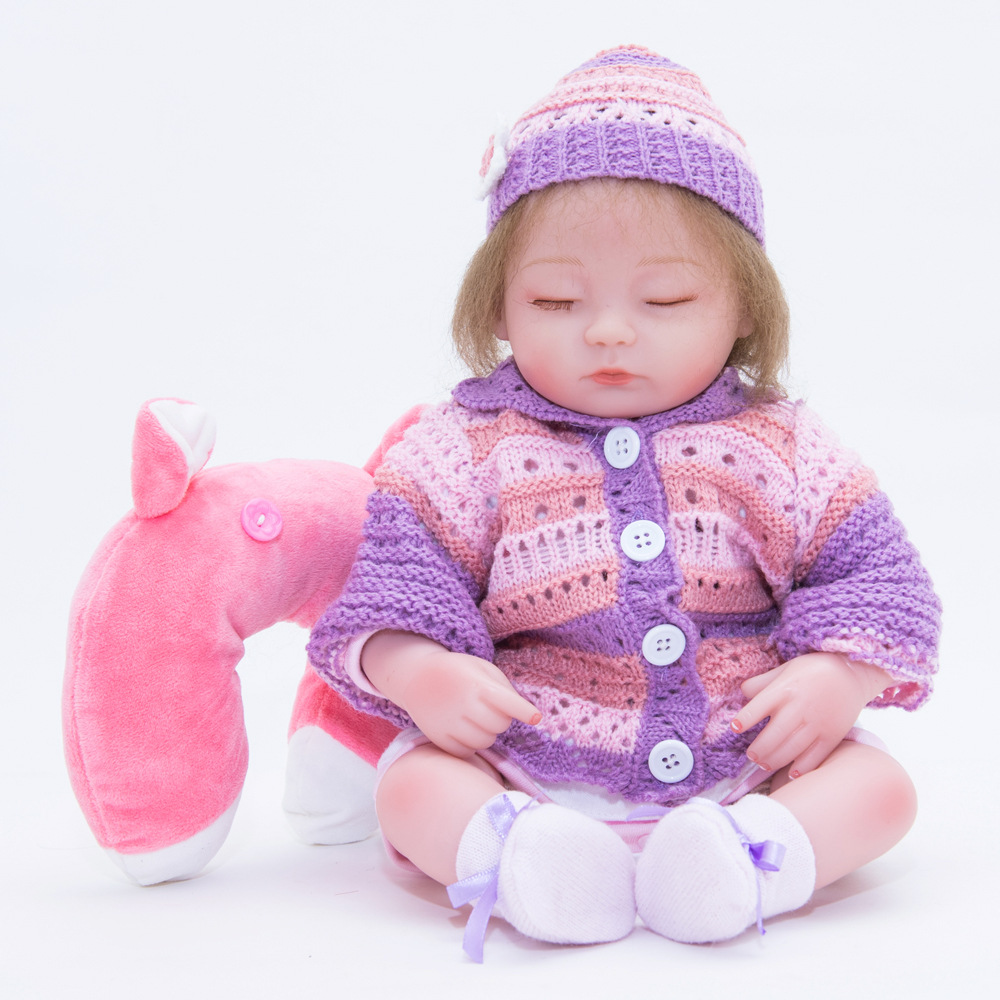 45cm Lifelike Reborn Girl Doll Soft Silicone Princess Sleeping Newborn Baby with Cloth Body Toy Kids Birthday Christmas Gift россия матрешка москва 8 мест