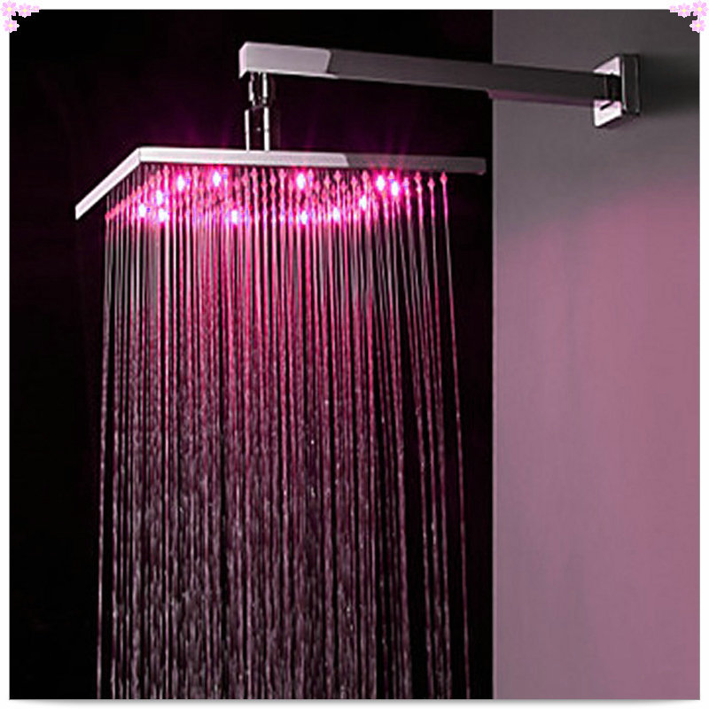 8 inch led shower head square showers with LED brass chorm ducha led ...
