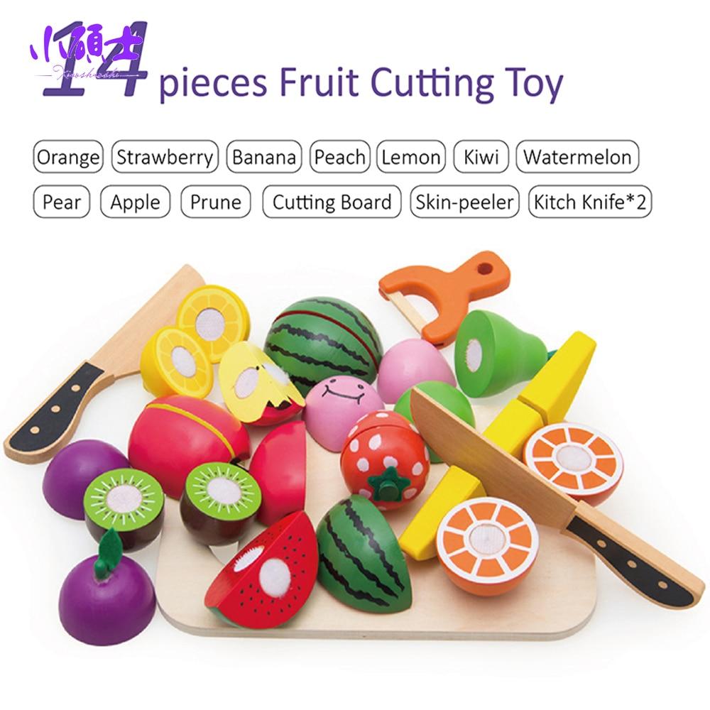 14 15 Pc Aman Orang Tua Anak Bermain Kayu Buah Sayuran Dapur Cutting Mainan Puzzle Stiker Dan Sayur Berpura Pura Pendidikan Makanan Set Di Dari Hobi