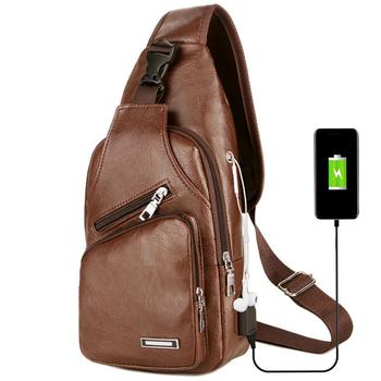 Bags Leisure Leather USB Charge Man Shoulder Bag Zipper Men Chest Pack Headphone Hole Functional Travel Crossbody Leather Bags