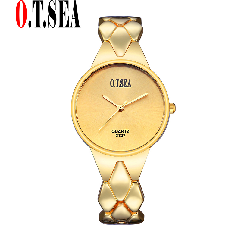 Luxury Gold Plated Bracelet Watches Women Ladies Dress Quartz Wristwatches Relogio Feminino O.T.SEA Brand 2127 baosaili brand luxury crystal gold watches women ladies quartz wristwatches bracelet relogio feminino relojes mujer bs001
