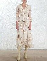 100% шелк цветочный с принтом птиц Длинные рукава с v образным вырезом Окрашенные Сердце рюшами Женская летняя обувь длина миди длинное плать