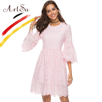 ArtSu Flare Sleeve Cotton White Embroidery Dress Women Hollow Out Knee Length Sexy Dress 2018 Summer Pink Elegant Party Dresses
