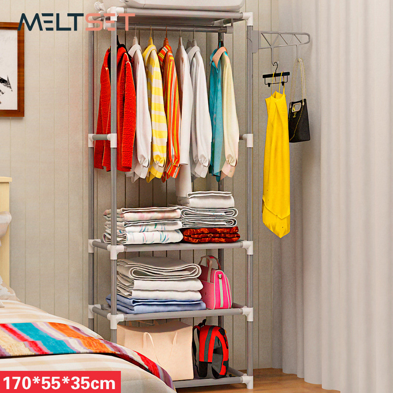 Simple Assembly Coat Rack Stainless Steel Clothes Hanger Non-woven Fabric Shoes Rack Handbag Organizer Bedroom Storage Holder