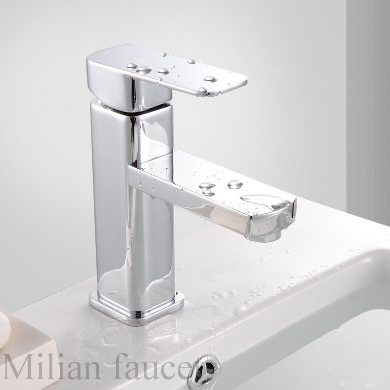 Free shipping stainless steel chrome single lever square - Square stainless steel bathroom sink ...