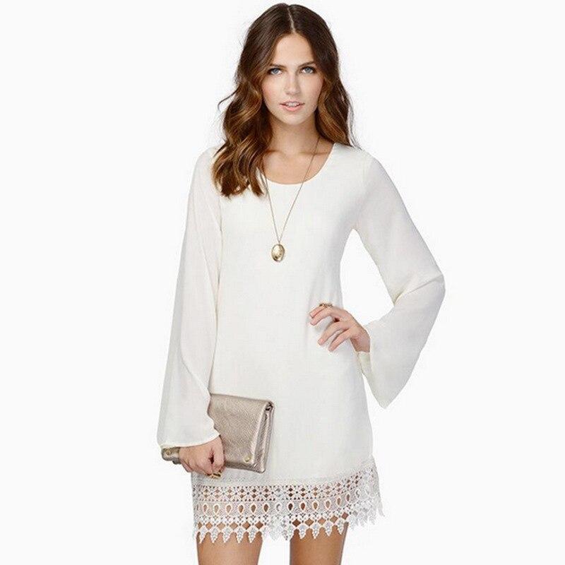 Buy Cheap New 2016 Women Summer Lace Beach Dresses Tropical Vestidos Femininos Long Sleeve Casual Chiffon Dress Robe Black White Z254