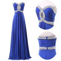 Free Shipping 2014 New Real Fashion Sexy A Line Silk Chiffon Crystals Prom Party Dresses Long