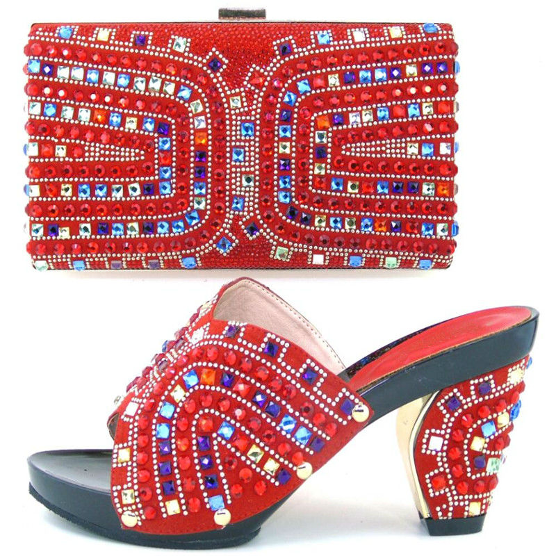 ФОТО Shoe With Matching Bag With Rhinestones Shoe And Bag Set New Design Women Shoe and Bag To Match In red color 37-43