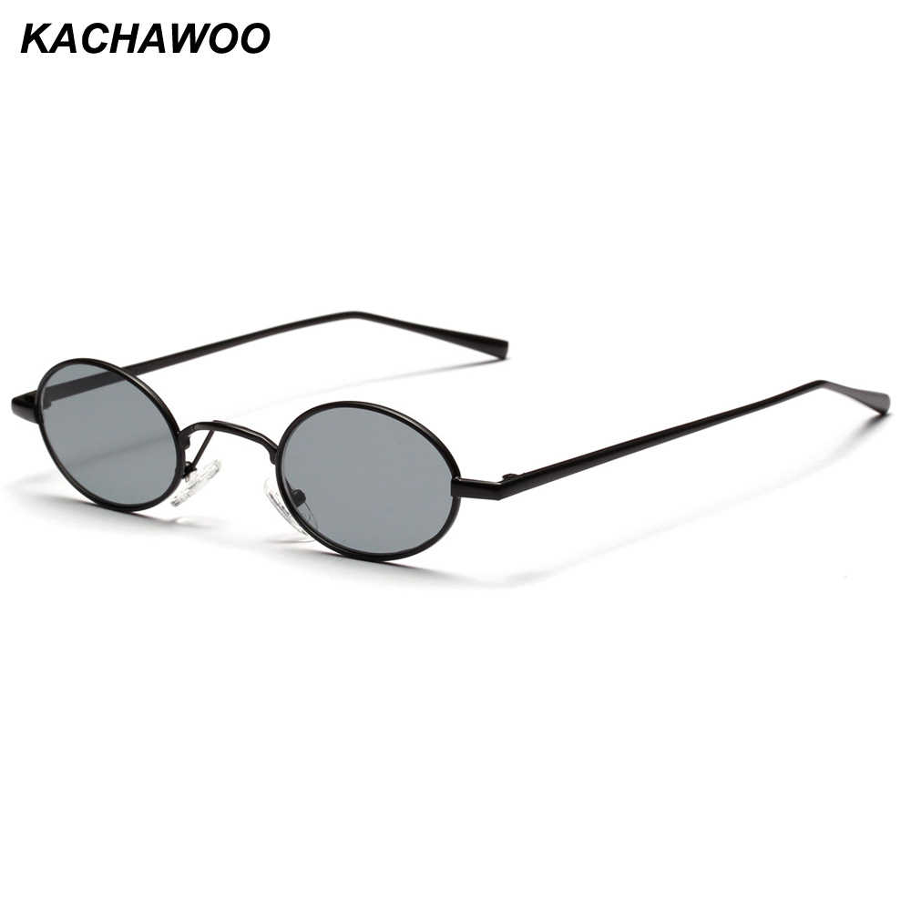 51e3c9ee22c Kachawoo small oval retro sunglasses men 2018 summer metal frame red yellow  vintage sun glasses for