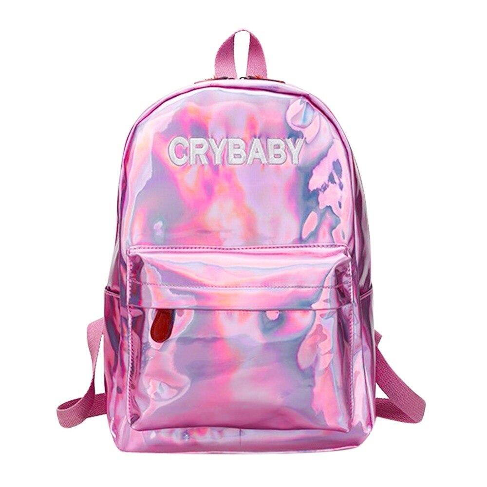 Mini bolsas de viaje plata azul Rosa láser mochila mujeres niñas pu cuero mochila holográfica escuela bolsas para adolescentes