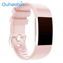Ouhaobin 135 230mm New Fashion Sports Silicone Bracelet Strap Band For Fitbit Charge 2 Sep 28