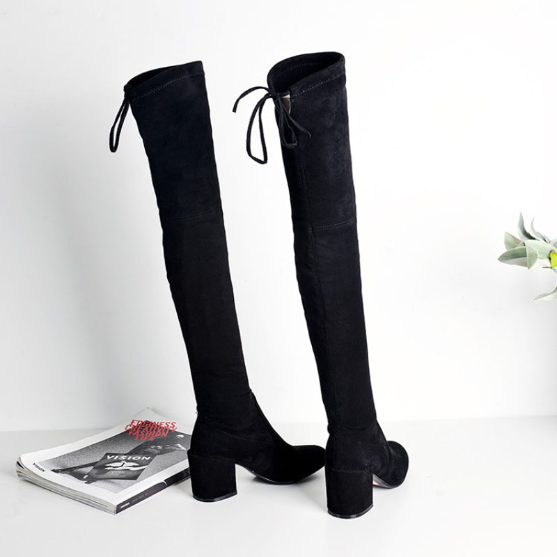 Intérieur Longues Talon Polaires Carré Dentelle Bottes Bout Black Véritable Rond black De Pu Over Printemps Automne Fleeces En Solide genou Hiver Cuir up Troupeau the VpzSMU