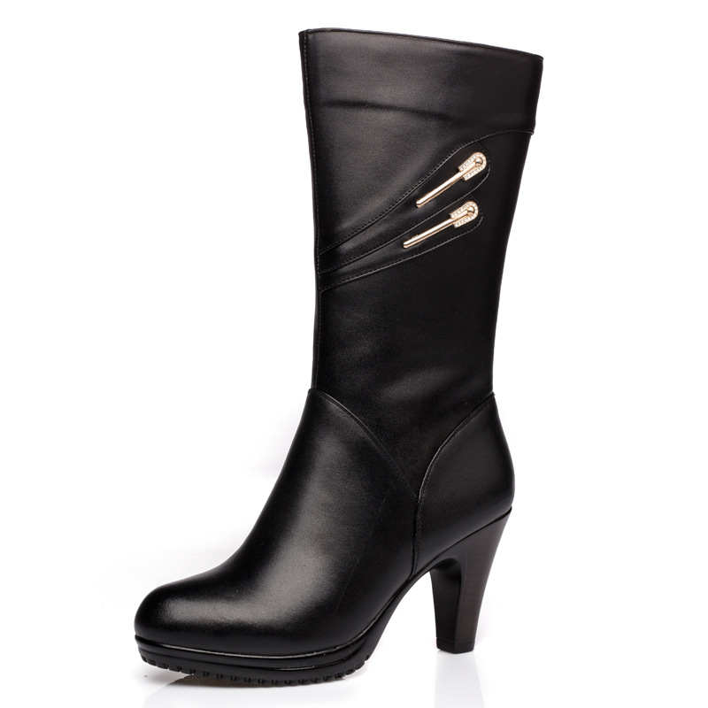 Women Black Knee High Boots Genuine Leather Long Boots 2017 Autumn Winter Ladies Fashion Warm Chunky Heel Work Boots Snow Shoes 2016 new arrive fashion knee high boots for women genuine leather black fashion women boots autumn winter ladies