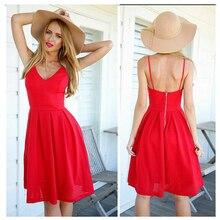 2016 New Women Summer Fashion Sexy Red A-line Dress Women's Knee-length Backless Spaghetti Strap Slip Dress Vestidos S22389