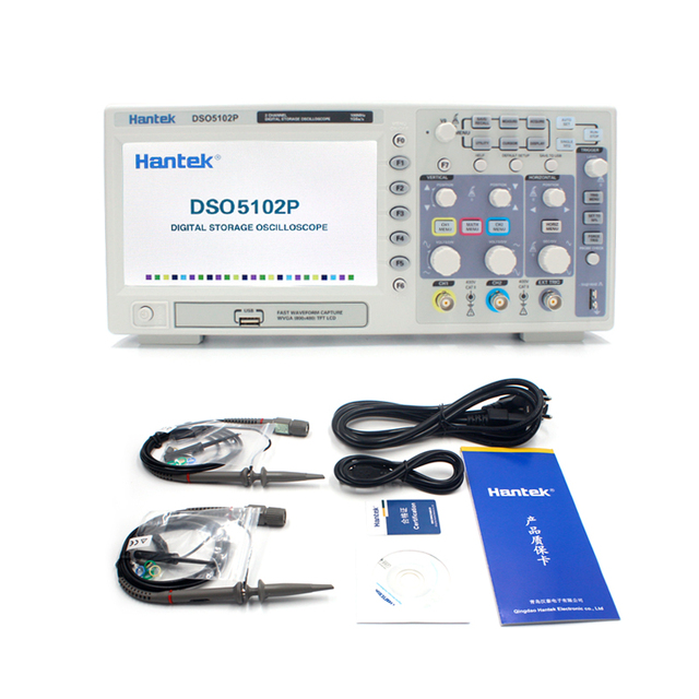 Цифровой осциллограф Hantek DSO5102P, 100 МГц, 2 канала, 1GSa/s, частота дискретизации в реальном времени, USB осциллограф