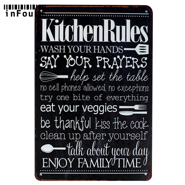 Cool Kitchen Signs: Kitchen Rules Bar Pub Wall Decor Metal Sign Vintage Home