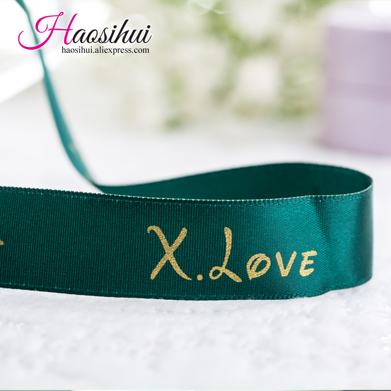 1 1 2 39 39 39mm Custom ribbon logo printed pack decoration brand logo polyester gift ribbons for wedding party 100yards lot in Ribbons from Home amp Garden