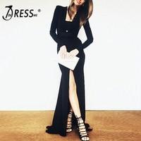INDRESSME INDRESSME 2019 New Black Deep V Neck Long Sleeve Split Maxi Dresses Autumn Floor Length