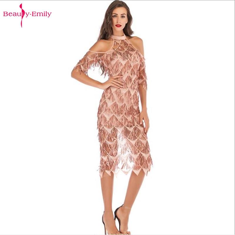 Beauty Emily Sexy Hanging Neck   Evening     Dress   Strapless Sequins Tassel Perspective Short   Dress   Summer robe de soiree Party   Dress