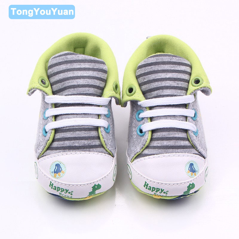 Cute Canvas Sports Baby Shoes Lace-Up With Smile Star Dinosaur Pattern Baby Boy Girl Shoes For 0-15 Months