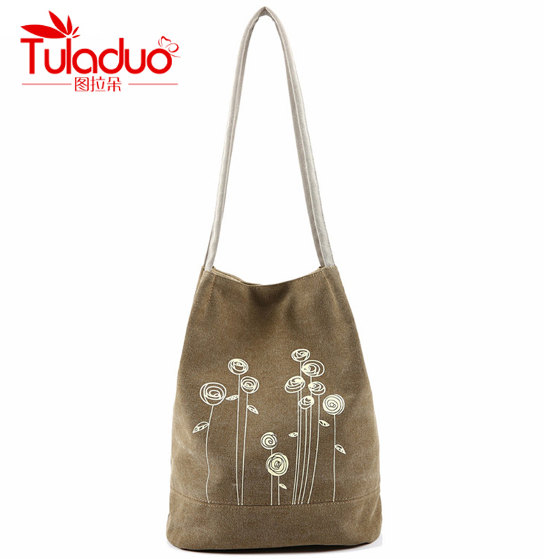 e7529fb64dfc New Hot Women s Shoulder Handbag Female Canvas Tote Bag Floral Print Beach  Bags For Girls Good