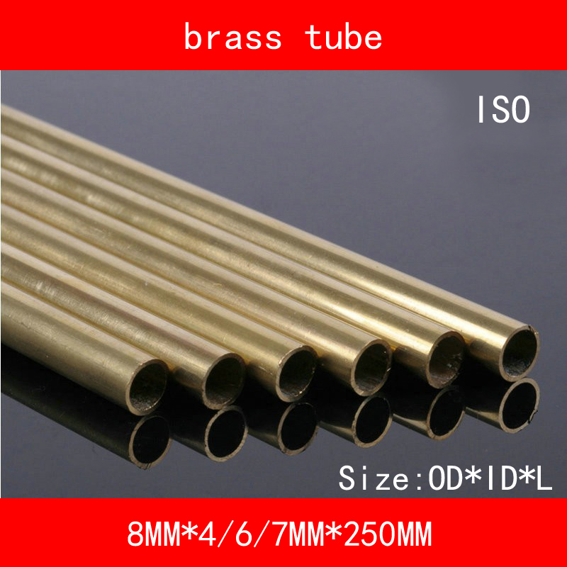 H62 Brass Seamless Pipe Tube OD*ID*Length 8mm*4/6/7mm*250mm ASTM C28000 CuZn40 CZ109 C2800 Hollow Bar ISO Certified 2pcs 304 stainless seamless steel capillary tube 5mm od 3mm id 250mm length mayitr for aviation antenna