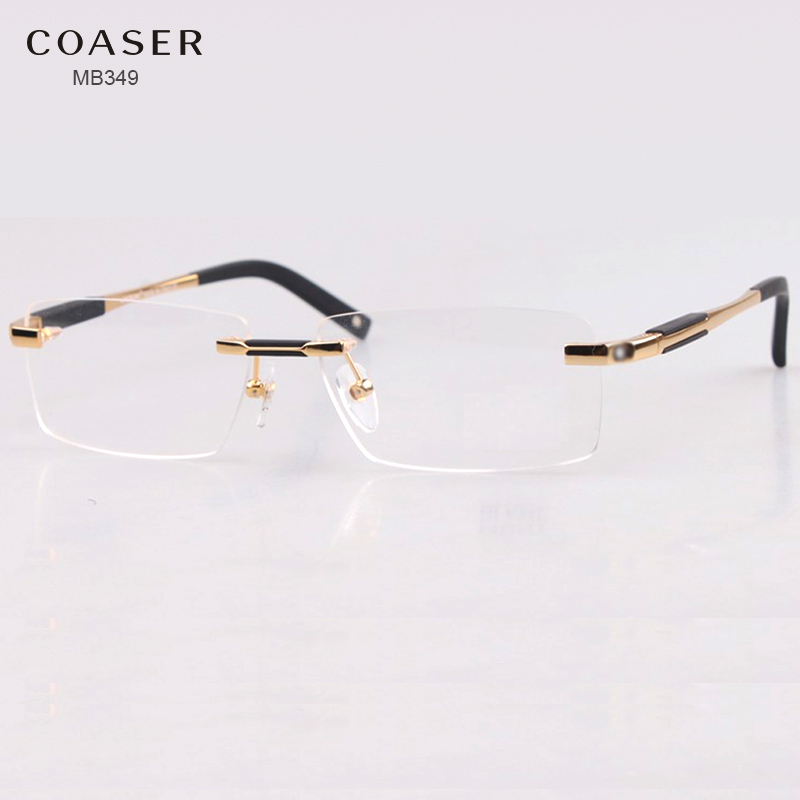 Brand Design Rimless Glasses Wide Spectacle Men Square eyeglasses frames reading glasses prescription lens optical frame