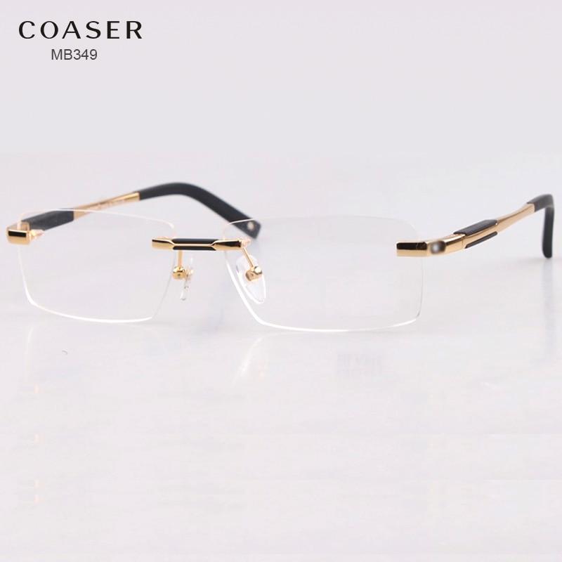 415becebeb4 Brand Design Rimless Glasses Wide Spectacle Men Square eyeglasses frames  reading glasses prescription lens optical frame eyewear-in Eyewear Frames  from ...