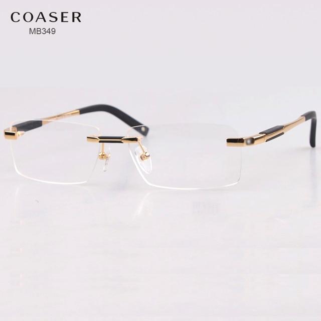e48ede2c39ce Brand Design Rimless Glasses Wide Spectacle Men Square eyeglasses frames  reading glasses prescription lens optical frame eyewear
