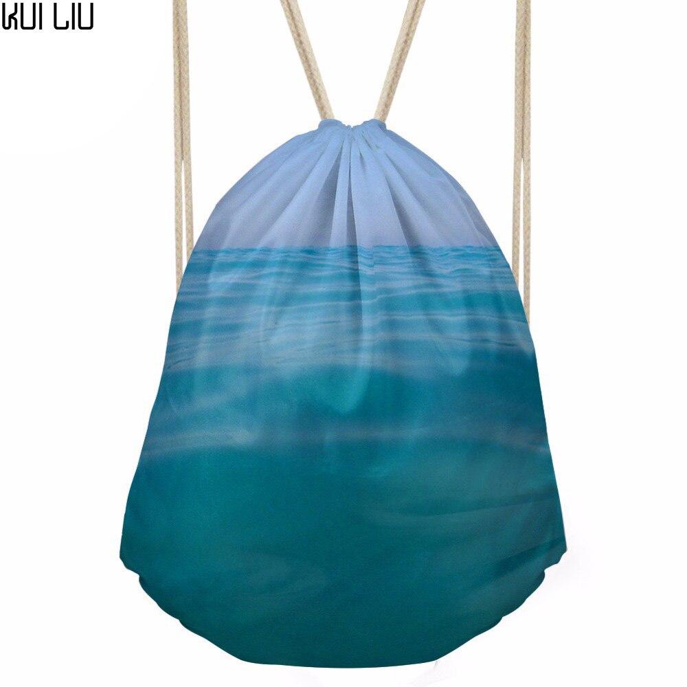 Drawstring Bag Women's Sea Printing Daypack Females Logo Customized Shopping Pocket For Kids Fashion Pouch Mochila
