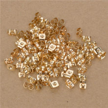 100 stks 5*3.8mm 24 k Champagne Goud Kleur Messing Stud Earring Back Stopper Diy Sieraden Bevindingen accessoires(China)