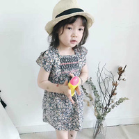 2017 New Summer Flower Brands Baby Girl Dress Black Floral Dress TUTU Party Petticoat Infant Party