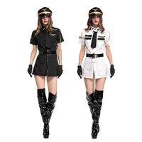 Новый сексуальный полиции костюм взрослая женщина Авиатор ролевая платье секс COP наряды маскарадные костюмы для Хэллоуина платье