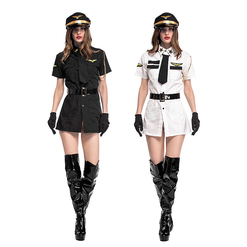 New Sexy Police Costume Adult Woman Aviator Role Playing -3143
