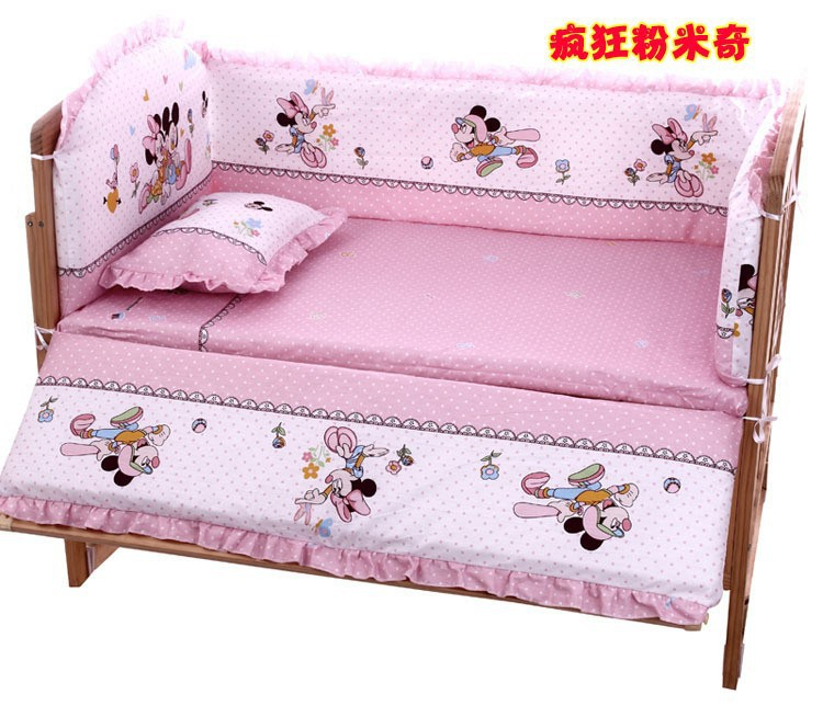 Promotion! 6PCS Cartoon Bedding Set for Crib,Excellent Quality and Competitive Price (3bumpers+matress+pillow+duvet)