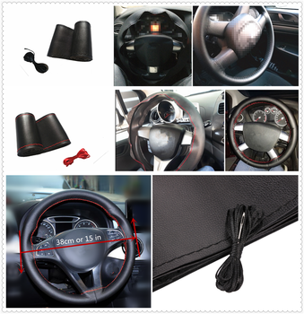 Car steering wheel cover microfiber leather hand-sewn DIY 38 cm for BMW all series 1 2 3 4 5 6 7 X E F-series E46 E90 F09 image