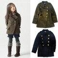 Бренд мода свободного покроя кашемир мальчиков и девочек зимнее пальто детей и пиджаки шерстяные детская одежда для 2 - 10 лет 2 цвета