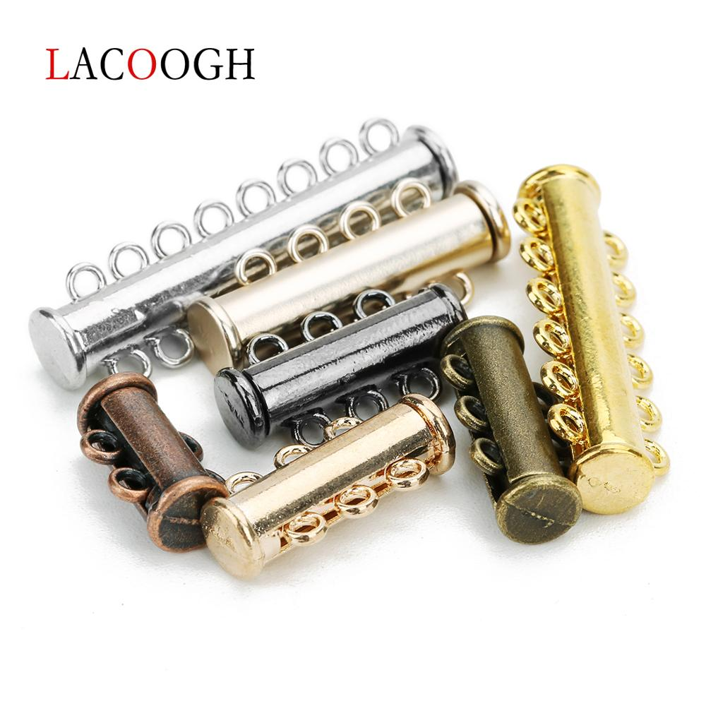 5pcs <font><b>2</b></font>/<font><b>3</b></font>/4/<font><b>5</b></font>/<font><b>6</b></font>/8 Rows Strong Magnetic Clasps For Necklace Bracelet Buckle Hook End Clasps Connector DIY Jewelry Making Supplies image