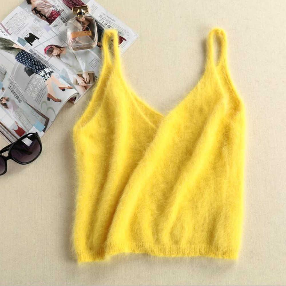 2020 섹시한 순수 천연 밍크 캐시미어 조끼 스웨터 여성 브이 넥 짧은 기본 경기 디자인 리얼 밍크 캐시미어 Gilet wsr345