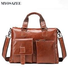 MYOSAZEE Men Briefcase Cow Leather Men's Handbag Retro Cowhide Computer Bag Shoulder Bag