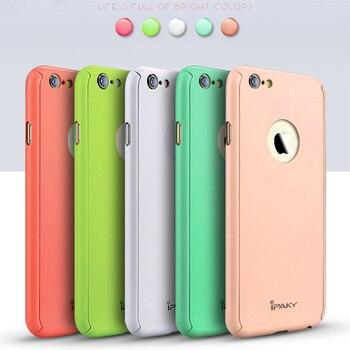 100% Original ipaky marque 360 couverture complète du corps macaron couleur Logo fenêtre coque de téléphone pour iphone X 7 8 6 6 S Plus robe de téléphone