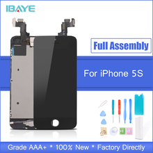 Display For iPhone 5s LCD Full for iphone5s lcd Touch Screen frame+home Button+front camera speaker Assembly Replacement