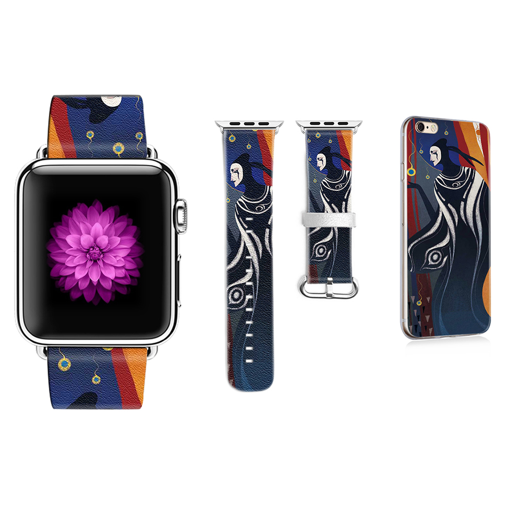 Band for Apple Watch 38mm 42mm Character modeling Style Genuine Leather Strap for Iwatch Series 1 2 3 Strap Gift for IPhone Case original abstract art lines band for apple watch band 38mm 42mm leather for iwatch band series 1 2 3 gift for iphone case